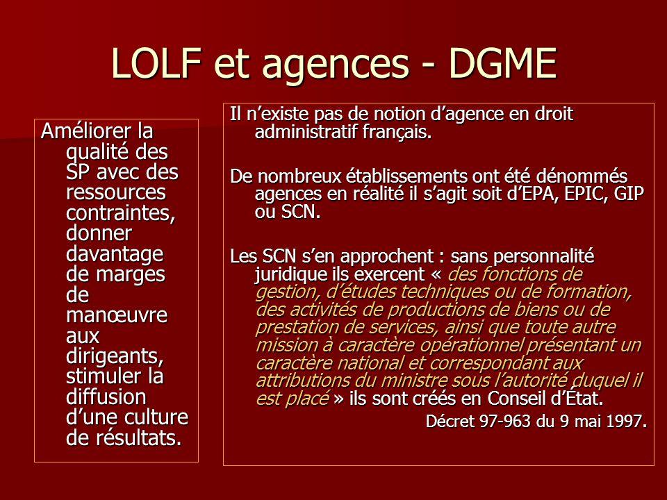 LOLF et agences - DGME Améliorer la qualité des SP avec des ressources contraintes, donner davantage de marges de manœuvre aux dirigeants, stimuler la diffusion dune culture de résultats.