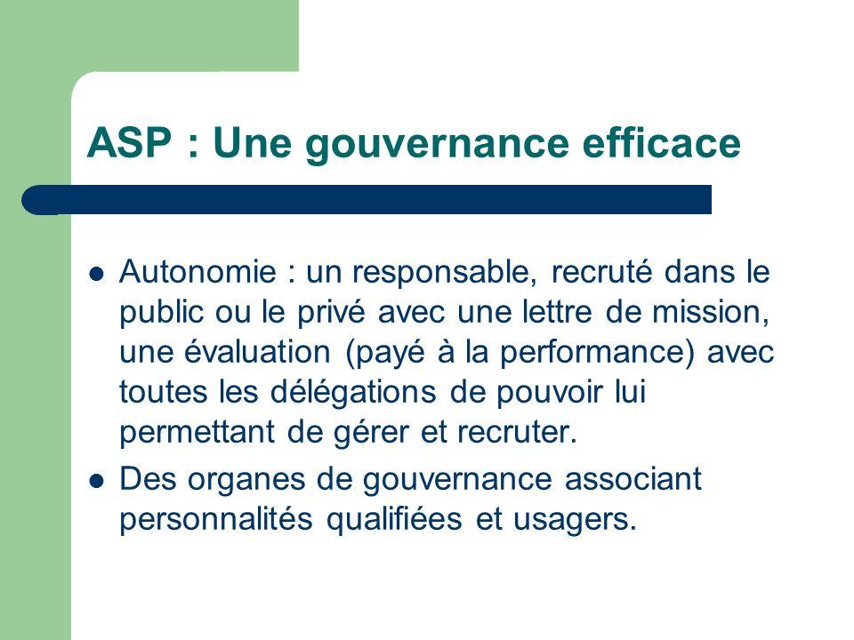 ASP : Une gouvernance efficace Autonomie : un responsable, recruté dans le public ou le privé avec une lettre de mission, une évaluation (payé à la performance) avec toutes les délégations de pouvoir lui permettant de gérer et recruter.