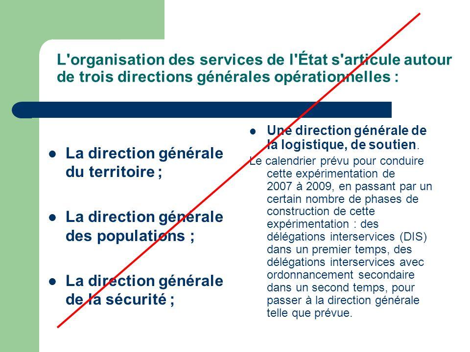 L organisation des services de l État s articule autour de trois directions générales opérationnelles : La direction générale du territoire ; La direction générale des populations ; La direction générale de la sécurité ; Une direction générale de la logistique, de soutien.