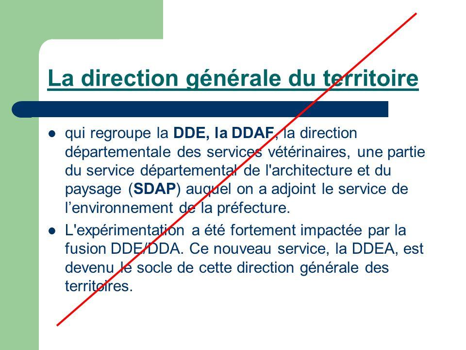 La direction générale du territoire qui regroupe la DDE, la DDAF, la direction départementale des services vétérinaires, une partie du service départemental de l architecture et du paysage (SDAP) auquel on a adjoint le service de lenvironnement de la préfecture.