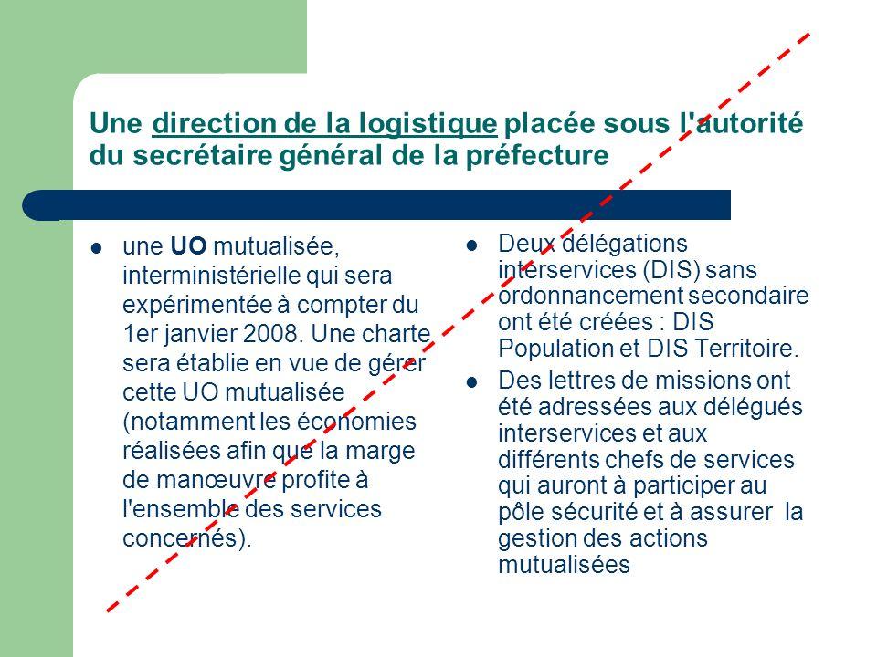 Une direction de la logistique placée sous l autorité du secrétaire général de la préfecture une UO mutualisée, interministérielle qui sera expérimentée à compter du 1er janvier 2008.