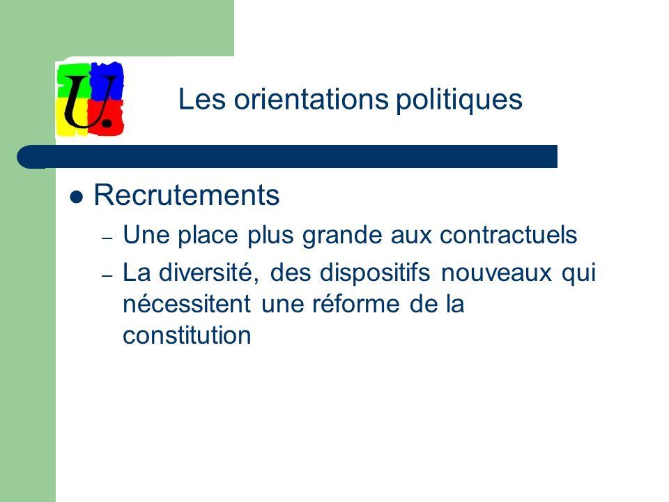 Recrutements – Une place plus grande aux contractuels – La diversité, des dispositifs nouveaux qui nécessitent une réforme de la constitution Les orientations politiques