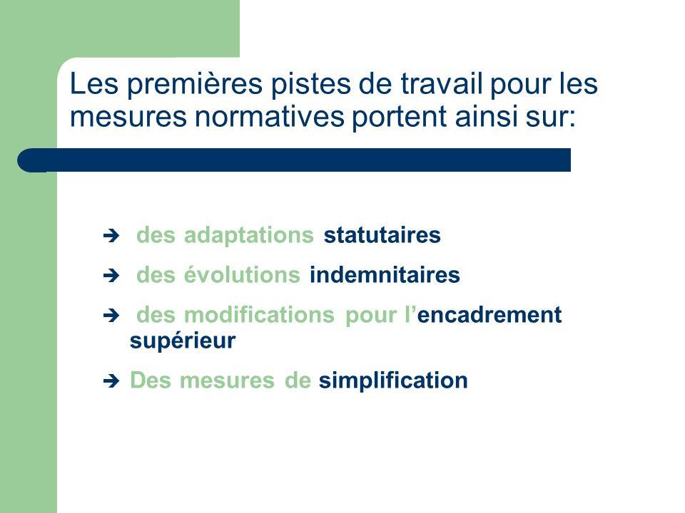 des adaptations statutaires des évolutions indemnitaires des modifications pour lencadrement supérieur Des mesures de simplification Les premières pistes de travail pour les mesures normatives portent ainsi sur: