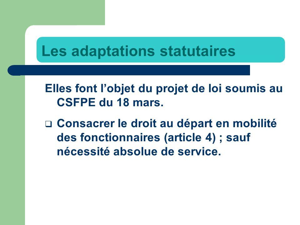 Elles font lobjet du projet de loi soumis au CSFPE du 18 mars.