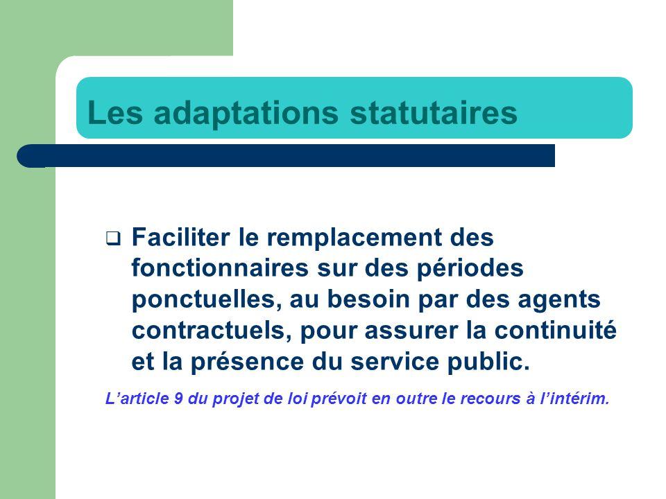 Faciliter le remplacement des fonctionnaires sur des périodes ponctuelles, au besoin par des agents contractuels, pour assurer la continuité et la présence du service public.