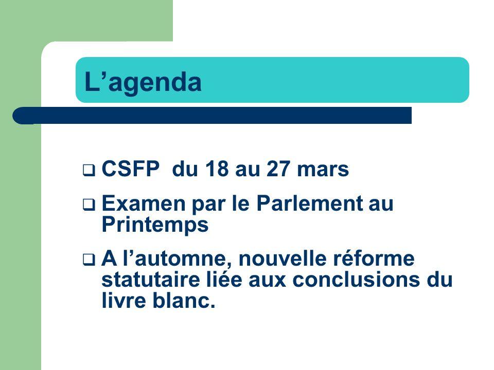 CSFP du 18 au 27 mars Examen par le Parlement au Printemps A lautomne, nouvelle réforme statutaire liée aux conclusions du livre blanc.