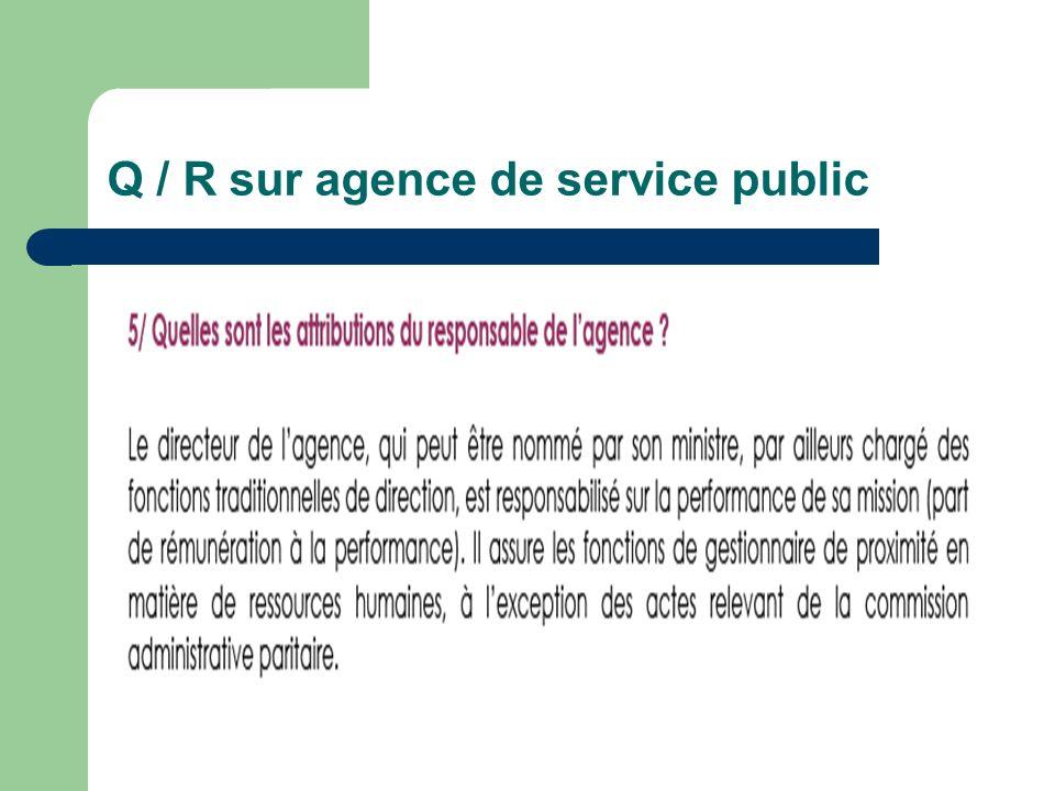 Q / R sur agence de service public