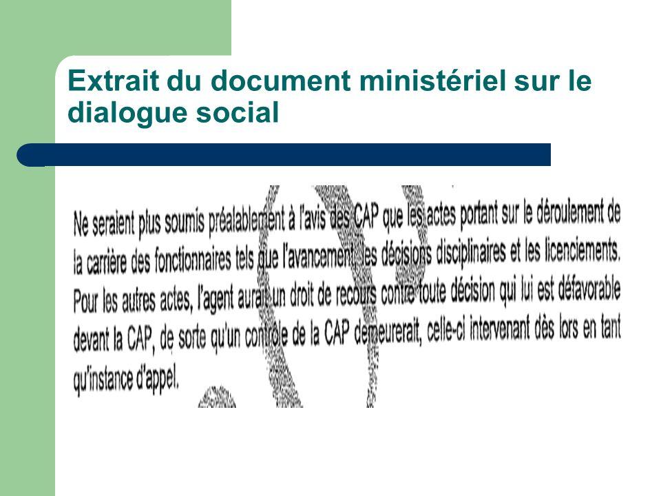 Extrait du document ministériel sur le dialogue social