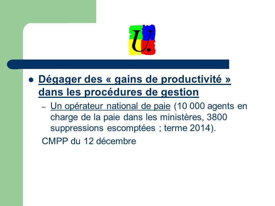 Dégager des « gains de productivité » dans les procédures de gestion – Un opérateur national de paie (10 000 agents en charge de la paie dans les ministères, 3800 suppressions escomptées ; terme 2014).