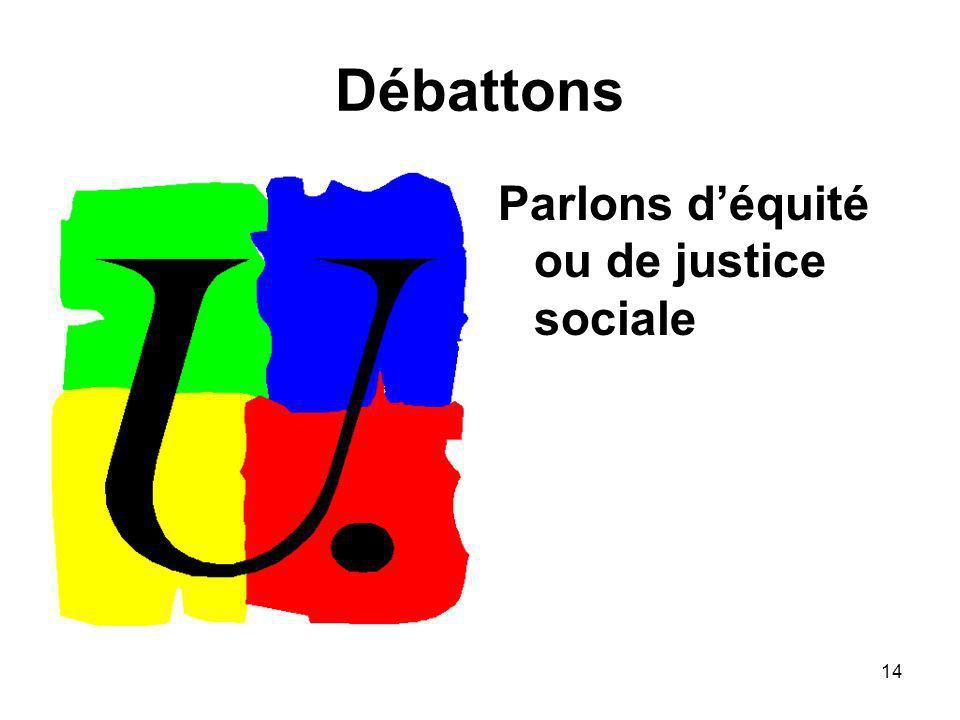 14 Débattons Parlons déquité ou de justice sociale