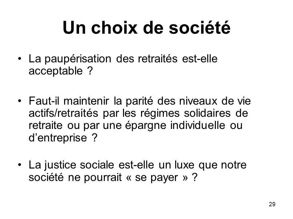 29 Un choix de société La paupérisation des retraités est-elle acceptable .