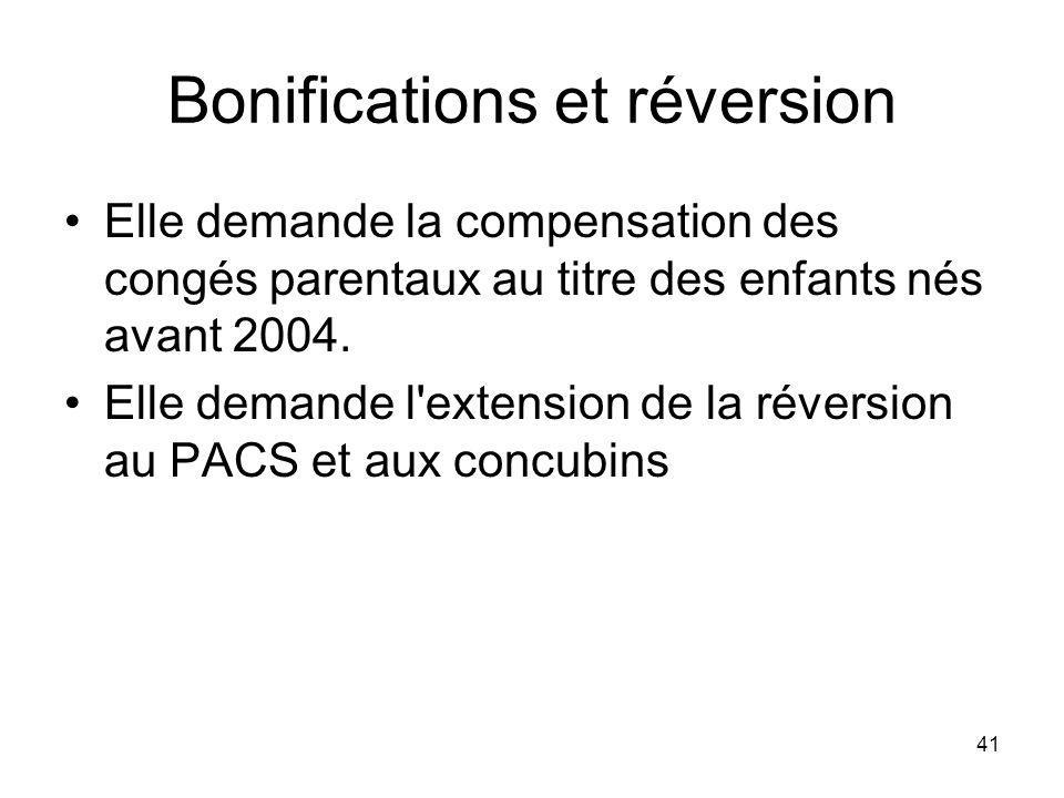 41 Bonifications et réversion Elle demande la compensation des congés parentaux au titre des enfants nés avant 2004.