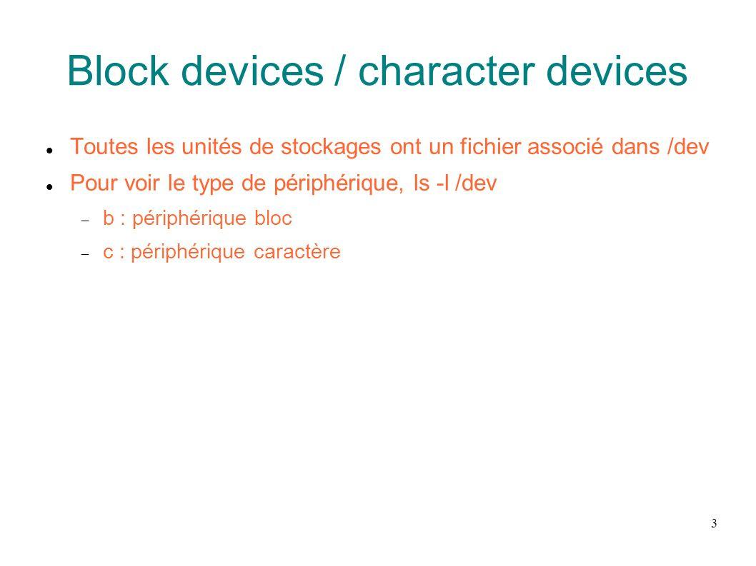 24 CD-Rom / Floppy CDROM Accessibles via /dev/hd[a-d] Car périphérique IDE Aussi via /dev/scd[0-7] Floppy A: Accessible via /dev/fd0