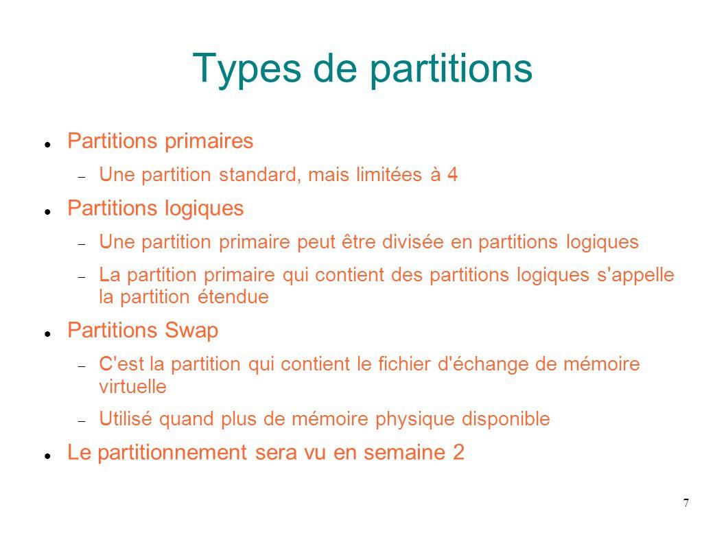 18 Partition Swap Partition dédiée utilisée quand le mémoire vive est saturée Pour libérer de la mémoire vive, des pages inactives de la RAM sont copiées sur la partition Swap On recommande comme taille de Swap 2 fois la RAM mais cela n est plus vrai
