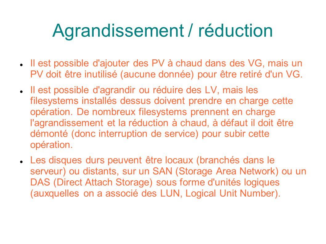 Agrandissement / réduction Il est possible d'ajouter des PV à chaud dans des VG, mais un PV doit être inutilisé (aucune donnée) pour être retiré d'un