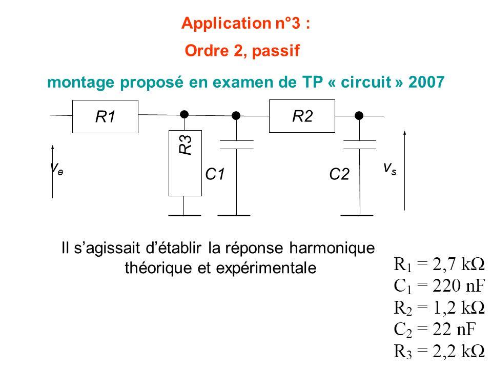 vsvs R1 C1 R2 C2 veve R3 Application n°3 : montage proposé en examen de TP « circuit » 2007 Il sagissait détablir la réponse harmonique théorique et e