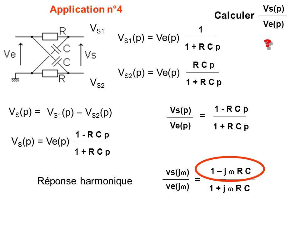 Application n°4 Calculer V S1 (p) = Ve(p) 1 1 + R C p V S2 (p) = Ve(p) V S1 V S2 R C p 1 + R C p V S (p) = V S1 (p) – V S2 (p) V S (p) = Ve(p) 1 + R C