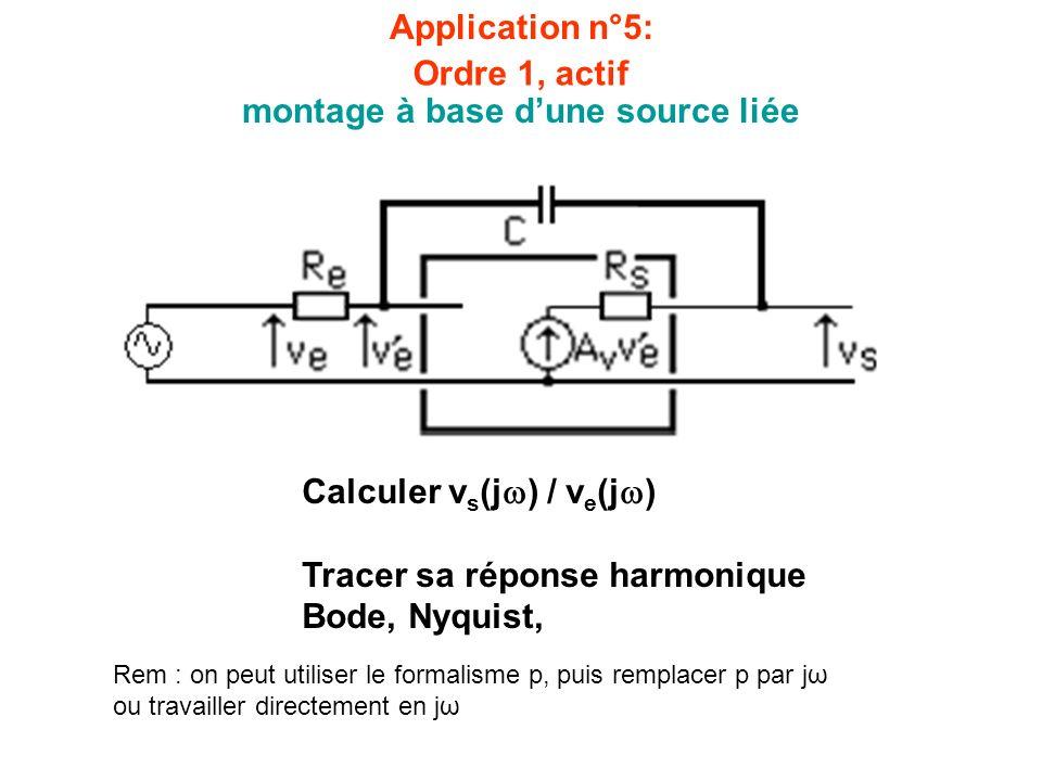 Application n°5: montage à base dune source liée Calculer v s (j ) / v e (j ) Tracer sa réponse harmonique Bode, Nyquist, Rem : on peut utiliser le fo