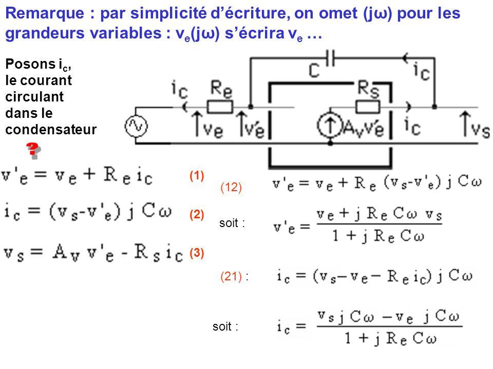 Posons i c, le courant circulant dans le condensateur (1) (2) (3) Remarque : par simplicité décriture, on omet (jω) pour les grandeurs variables : v e