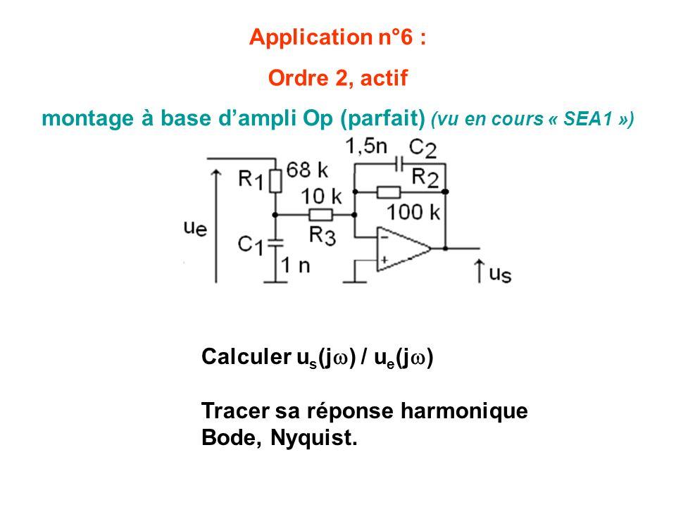 Application n°6 : montage à base dampli Op (parfait) (vu en cours « SEA1 ») Calculer u s (j ) / u e (j ) Tracer sa réponse harmonique Bode, Nyquist. O
