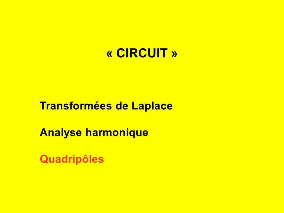 Transformées de Laplace Analyse harmonique Quadripôles « CIRCUIT »