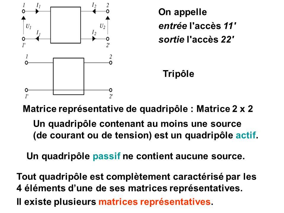 On appelle entrée l'accès 11' sortie l'accès 22' Tout quadripôle est complètement caractérisé par les 4 éléments dune de ses matrices représentatives.