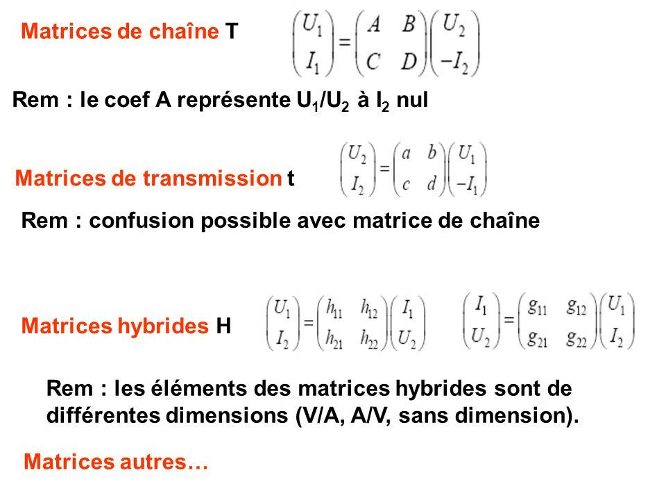 Rem : les éléments des matrices hybrides sont de différentes dimensions (V/A, A/V, sans dimension). Matrices hybrides H Matrices de transmission t Mat