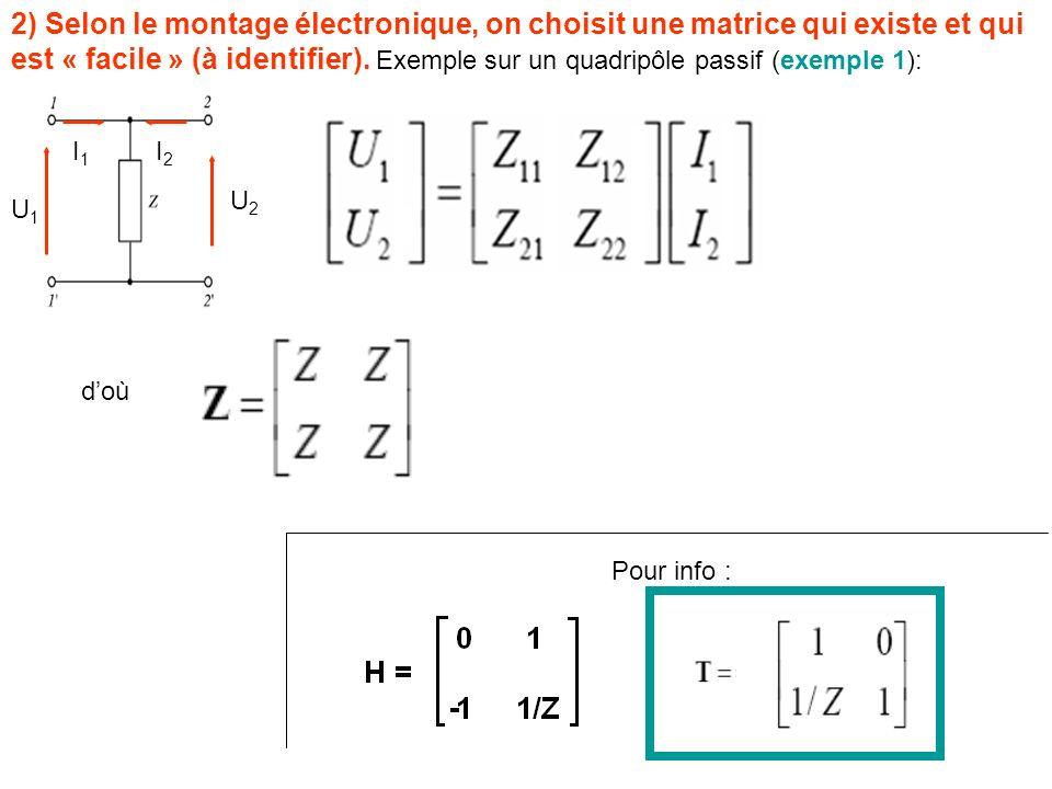 2) Selon le montage électronique, on choisit une matrice qui existe et qui est « facile » (à identifier). Exemple sur un quadripôle passif (exemple 1)
