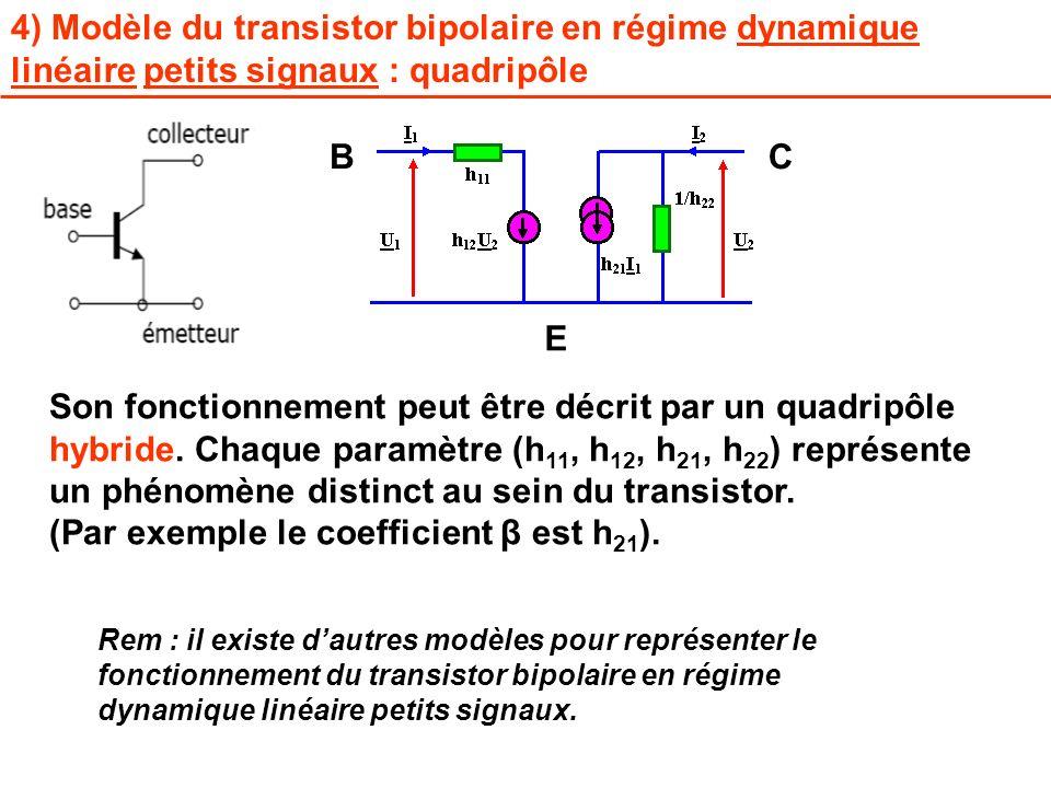 4) Modèle du transistor bipolaire en régime dynamique linéaire petits signaux : quadripôle Son fonctionnement peut être décrit par un quadripôle hybri