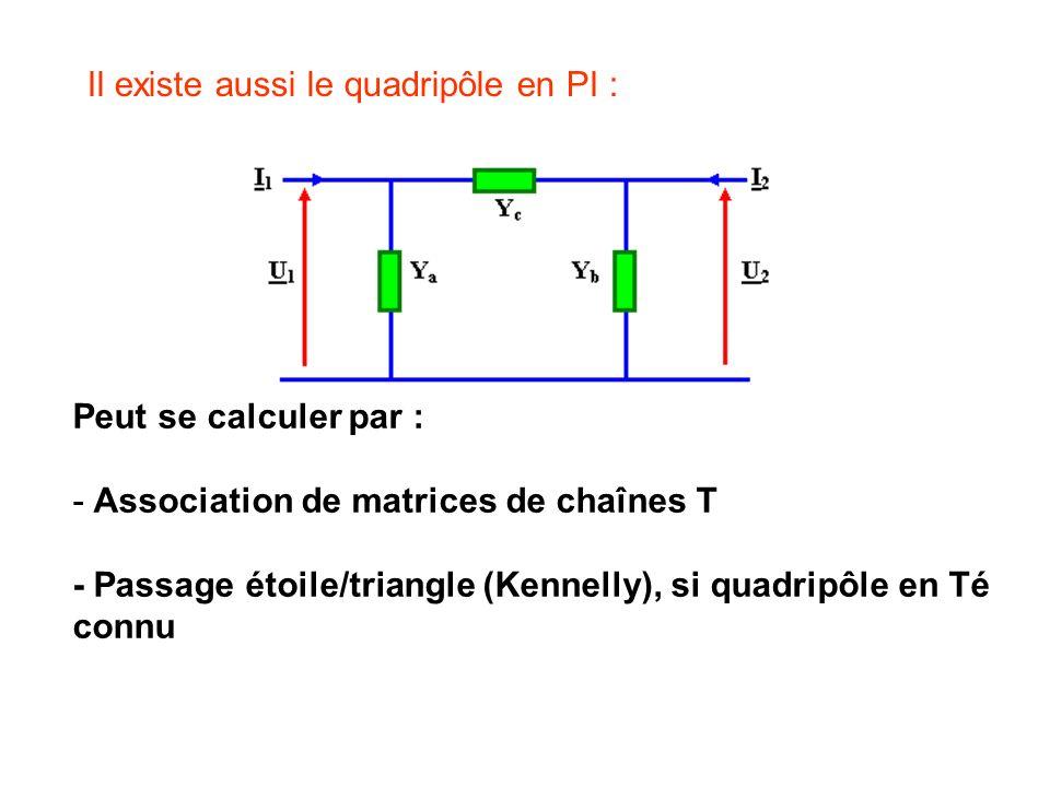 Peut se calculer par : - Association de matrices de chaînes T - Passage étoile/triangle (Kennelly), si quadripôle en Té connu Il existe aussi le quadr