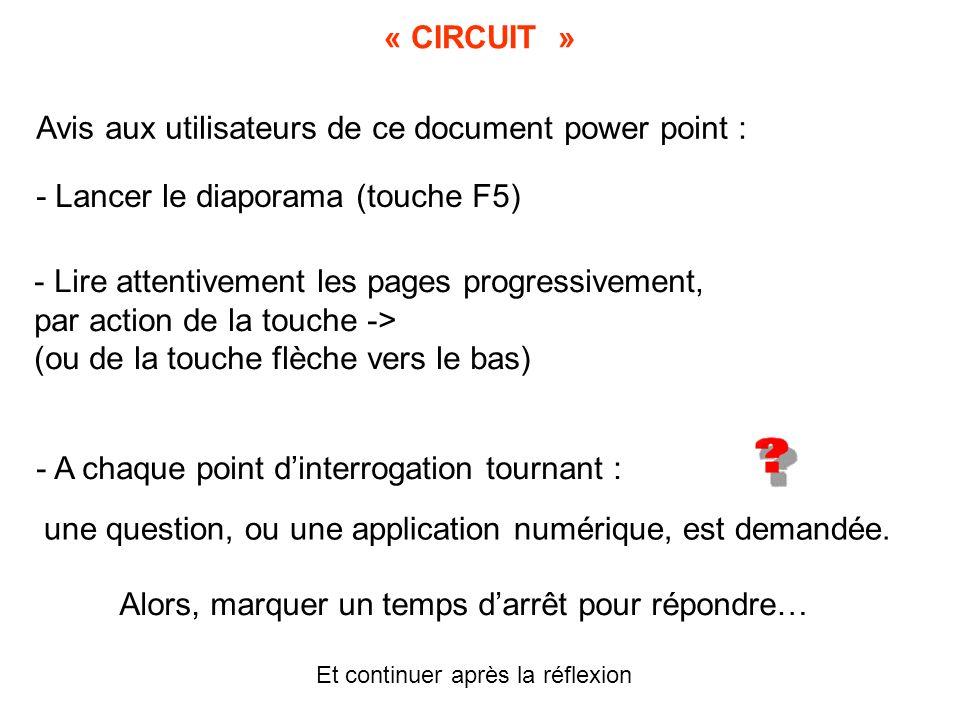 « CIRCUIT » Avis aux utilisateurs de ce document power point : - Lancer le diaporama (touche F5) - Lire attentivement les pages progressivement, par a