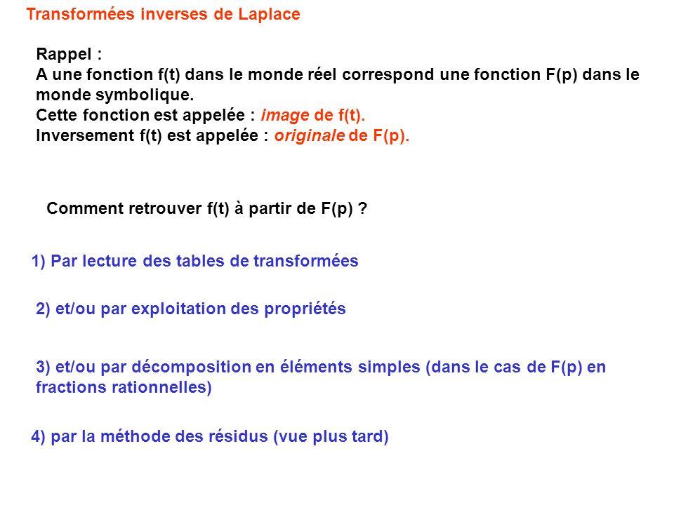 Rappel : A une fonction f(t) dans le monde réel correspond une fonction F(p) dans le monde symbolique. Cette fonction est appelée : image de f(t). Inv