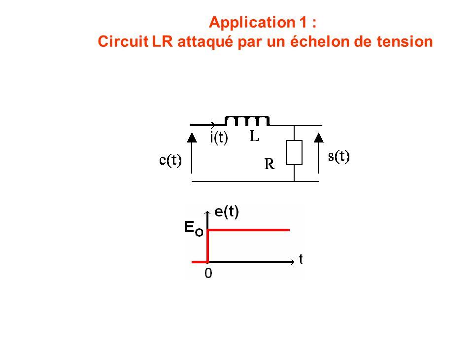 Application 1 : Circuit LR attaqué par un échelon de tension