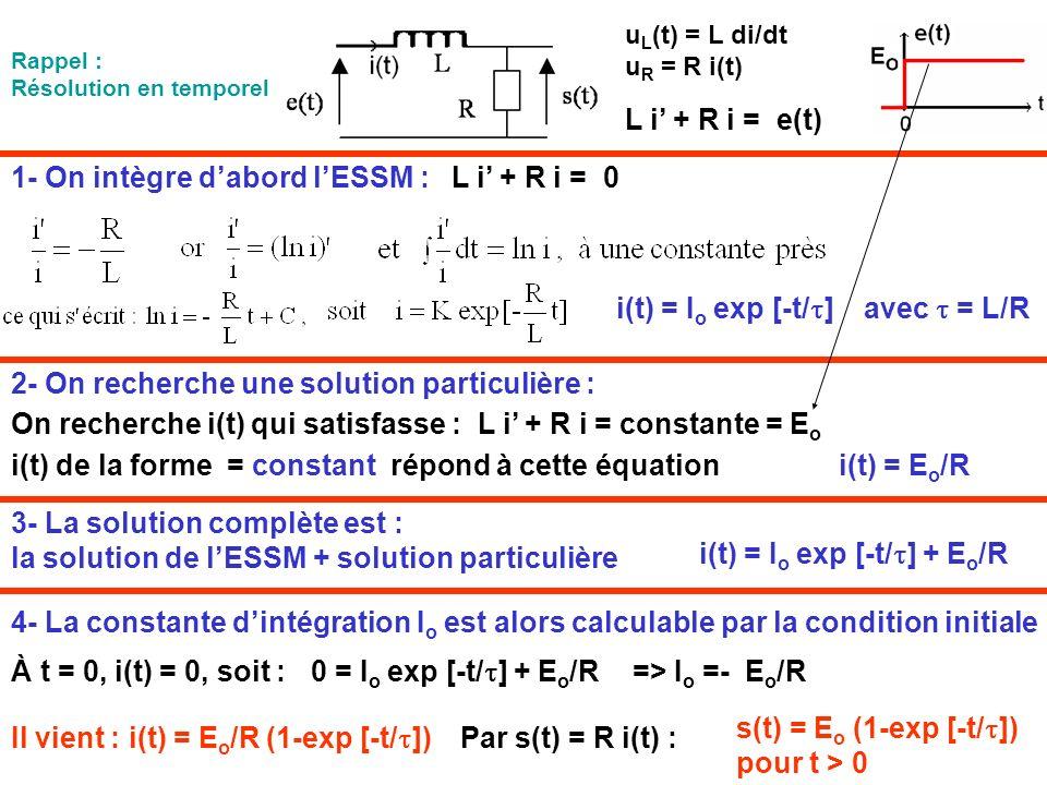 1- On intègre dabord lESSM : L i + R i = e(t) i(t) = I o exp [-t/ ] avec = L/R u L (t) = L di/dt u R = R i(t) L i + R i = 0 2- On recherche une soluti