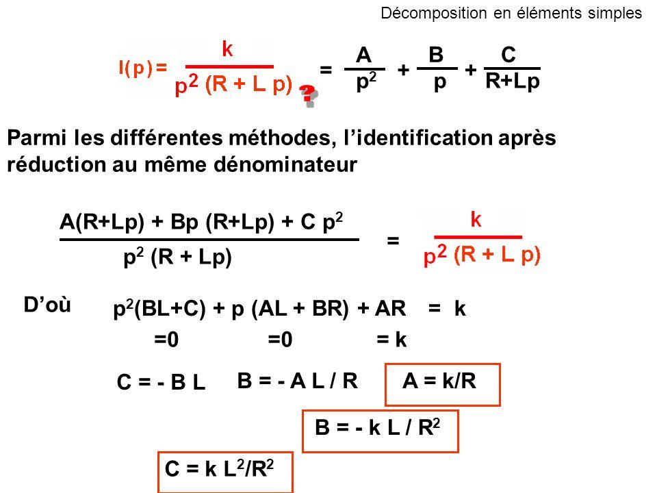 A BC p2p2 pR+Lp ++ = Parmi les différentes méthodes, lidentification après réduction au même dénominateur A(R+Lp) + Bp (R+Lp) + C p 2 p 2 (R + Lp) = D