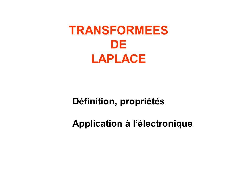 Définition, propriétés Application à lélectronique TRANSFORMEES DE LAPLACE