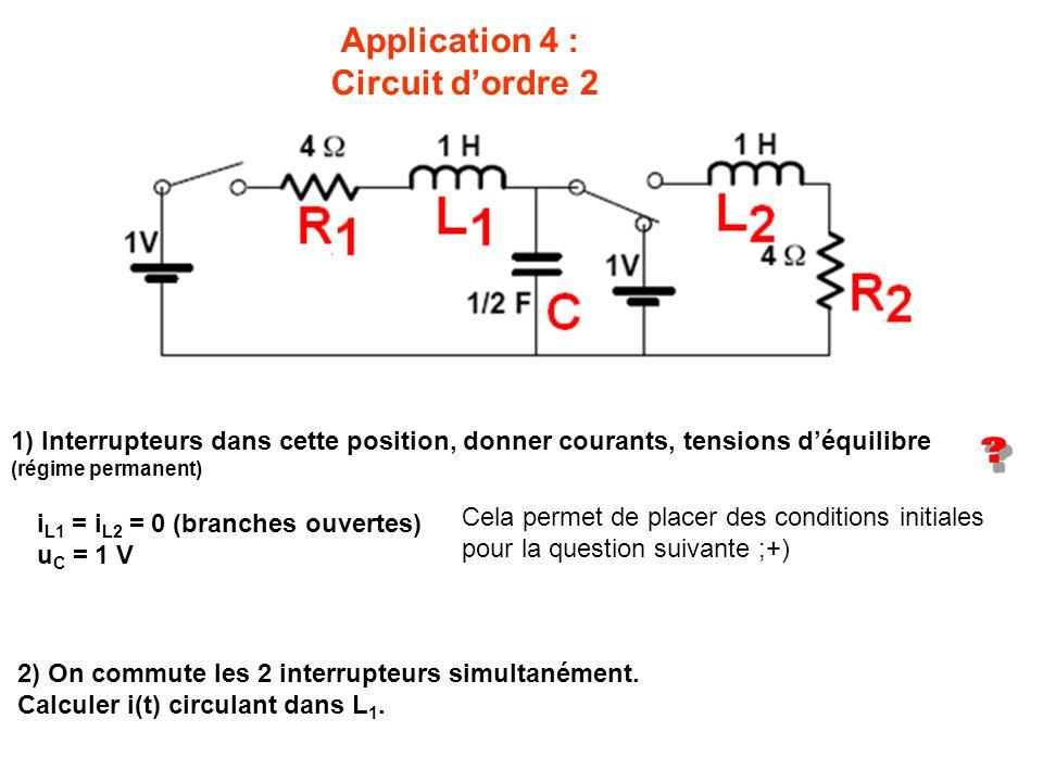 Application 4 : Circuit dordre 2 1) Interrupteurs dans cette position, donner courants, tensions déquilibre (régime permanent) 2) On commute les 2 int