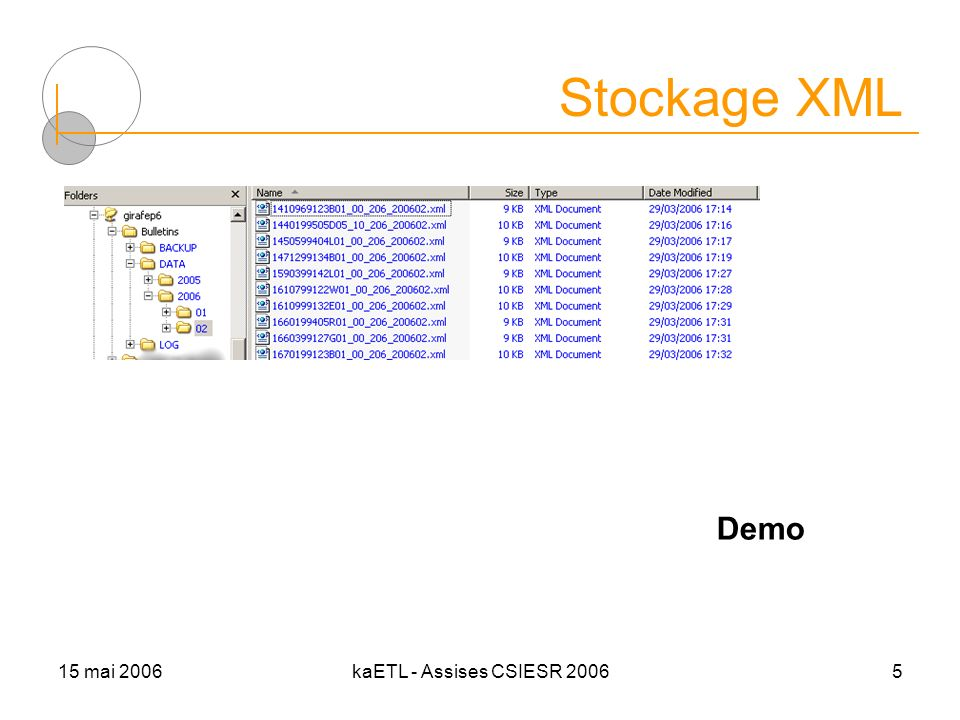 15 mai 2006kaETL - Assises CSIESR 20065 Stockage XML Demo