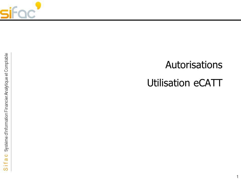 S i f a c Système dInformation Financier Analytique et Comptable Sifac 1 Autorisations Utilisation eCATT