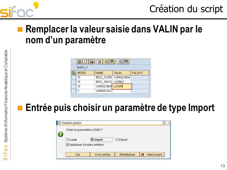 S i f a c Système dInformation Financier Analytique et Comptable Sifac 13 Création du script Remplacer la valeur saisie dans VALIN par le nom dun para