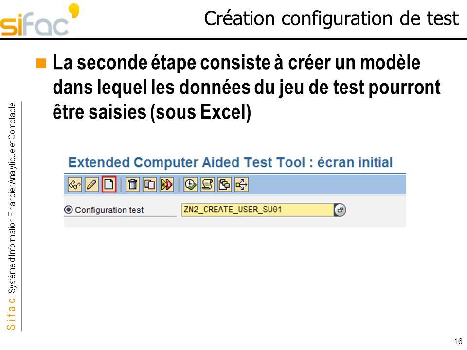 S i f a c Système dInformation Financier Analytique et Comptable Sifac 16 Création configuration de test La seconde étape consiste à créer un modèle d