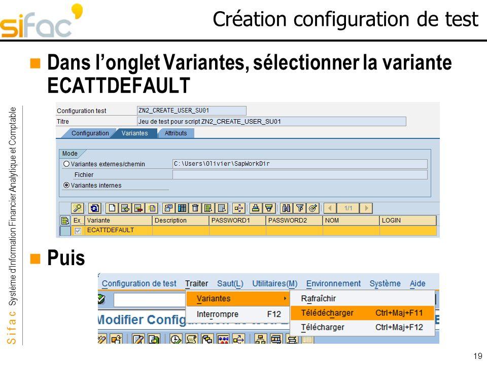 S i f a c Système dInformation Financier Analytique et Comptable Sifac 19 Création configuration de test Dans longlet Variantes, sélectionner la varia