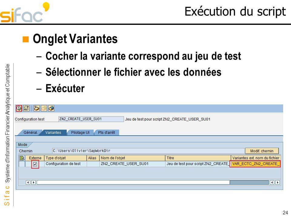 S i f a c Système dInformation Financier Analytique et Comptable Sifac 24 Exécution du script Onglet Variantes – Cocher la variante correspond au jeu