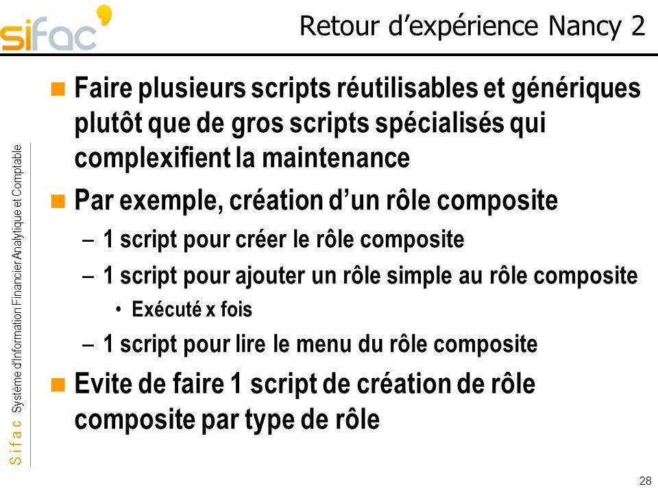 S i f a c Système dInformation Financier Analytique et Comptable Sifac 28 Retour dexpérience Nancy 2 Faire plusieurs scripts réutilisables et génériqu