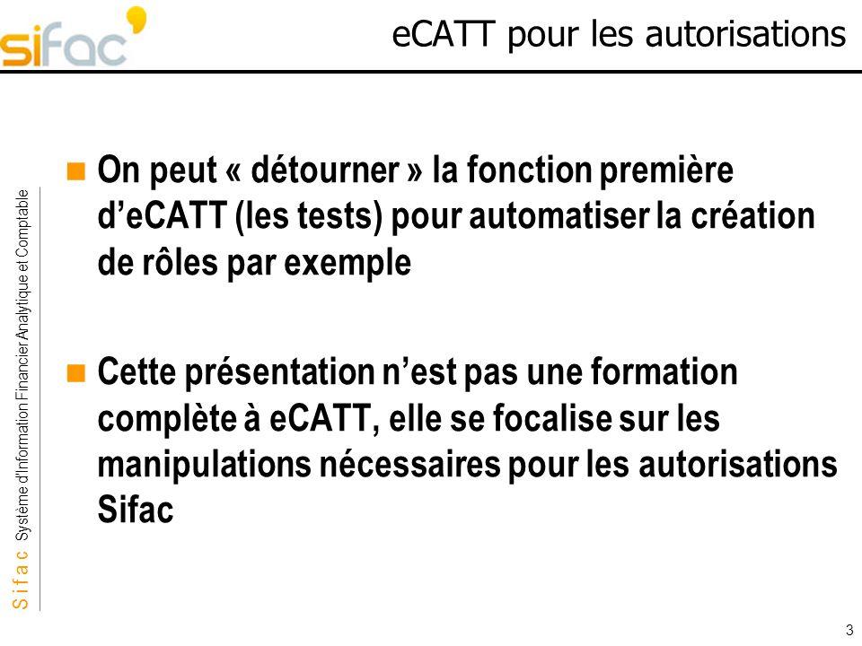S i f a c Système dInformation Financier Analytique et Comptable Sifac 3 eCATT pour les autorisations On peut « détourner » la fonction première deCAT