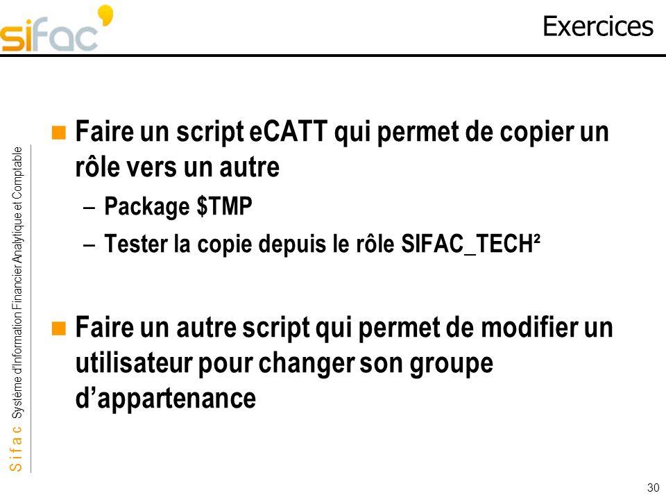 S i f a c Système dInformation Financier Analytique et Comptable Sifac 30 Exercices Faire un script eCATT qui permet de copier un rôle vers un autre –
