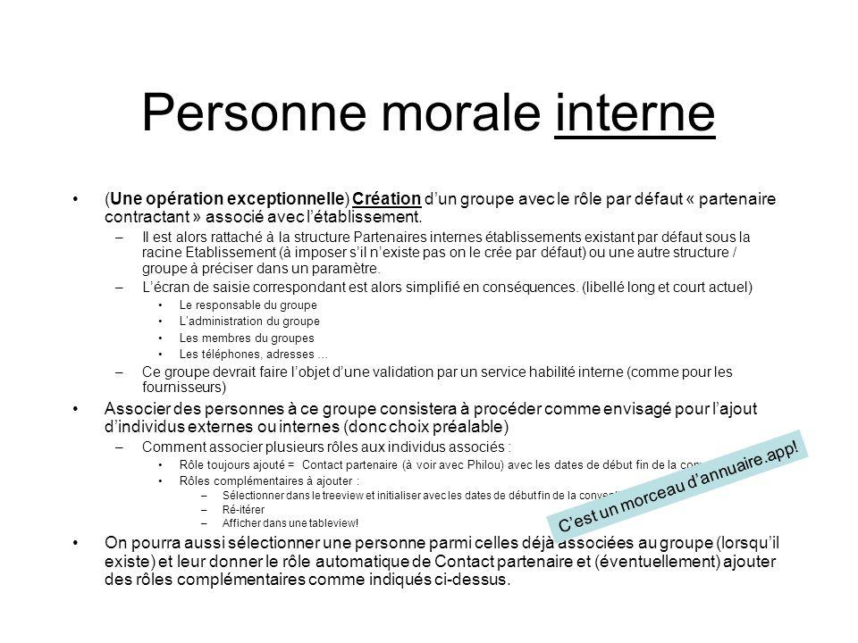 Personne morale interne (Une opération exceptionnelle) Création dun groupe avec le rôle par défaut « partenaire contractant » associé avec létablissement.