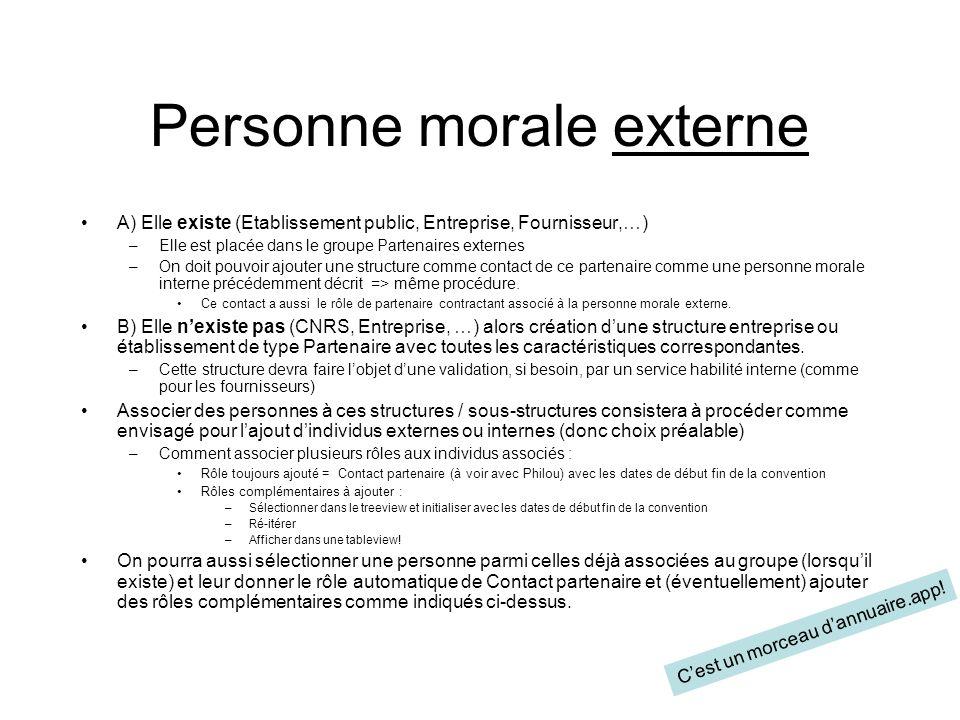 Personne morale externe A) Elle existe (Etablissement public, Entreprise, Fournisseur,…) –Elle est placée dans le groupe Partenaires externes –On doit