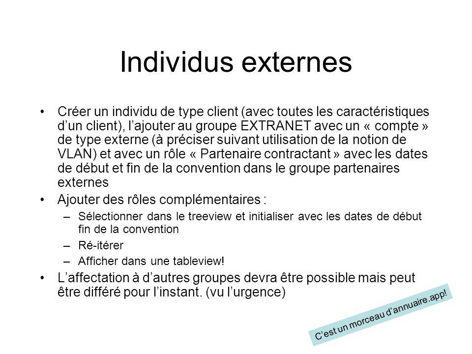 Individus externes Créer un individu de type client (avec toutes les caractéristiques dun client), lajouter au groupe EXTRANET avec un « compte » de t