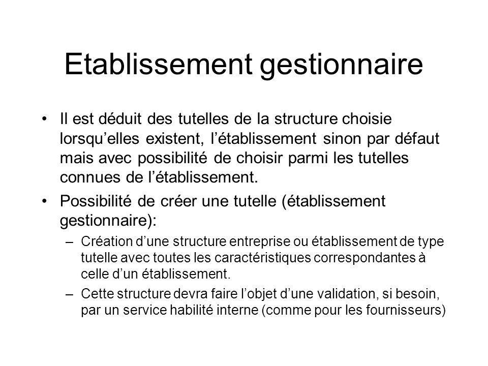 Etablissement gestionnaire Il est déduit des tutelles de la structure choisie lorsquelles existent, létablissement sinon par défaut mais avec possibilité de choisir parmi les tutelles connues de létablissement.